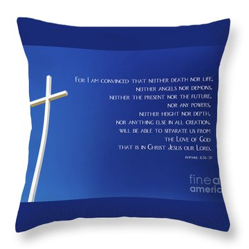 Cross With Blue Sky Throw Pillow