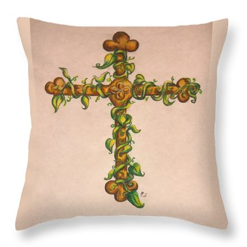 Cross With Ivy Throw Pillow
