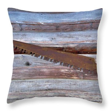 Crosscut Saw Throw Pillow
