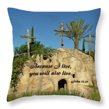 Crosses And Resurrection Throw Pillow