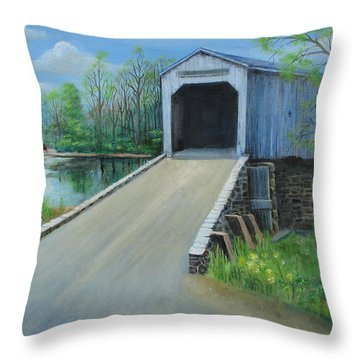 Crossing At The Covered Bridge Throw Pillow