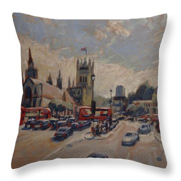 Crossing At Westminster Throw Pillow