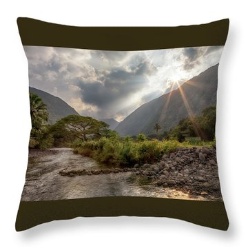 Crossing Hiilawe Stream Throw Pillow