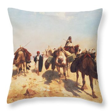 Crossing The Desert Throw Pillow by Jean Leon Gerome