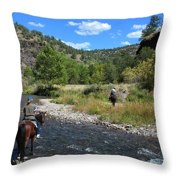Crossing The Gila On Horseback Throw Pillow