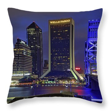 Crossing The Main Street Bridge - Jacksonville - Florida - Cityscape Throw Pillow