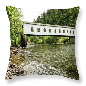 Crossing The Mckenzie River Throw Pillow