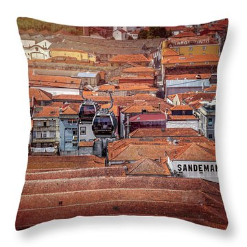 Crossing The Red Rooftops Of Porto Portugal  Throw Pillow