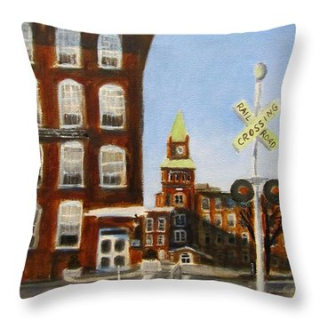 Throw Pillow featuring the painting Crossing The Tracks by Linda Feinberg