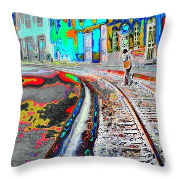 Crossing The Tracks Throw Pillow