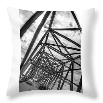 Throw Pillow featuring the photograph Crossing Through The Chesapeake Bay Bridge by T Brian Jones