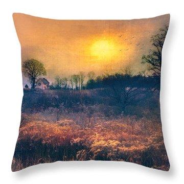 Crossing Through The Meadows Throw Pillow