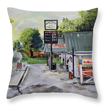 Throw Pillow featuring the painting Crossroads Grocery - Elijay, Ga - Old Gas And Grocery Store by Jan Dappen