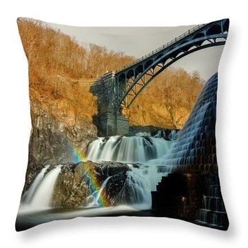 Croton Dam Rainbow Spray Throw Pillow
