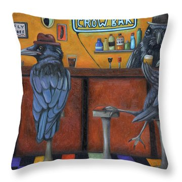 Throw Pillow featuring the painting Crow Bar by Leah Saulnier The Painting Maniac