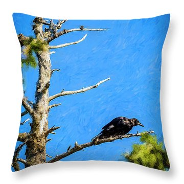 Crow In An Old Tree Throw Pillow by Ken Morris