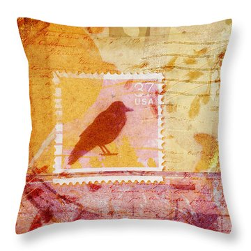 Crow In Orange And Pink Throw Pillow