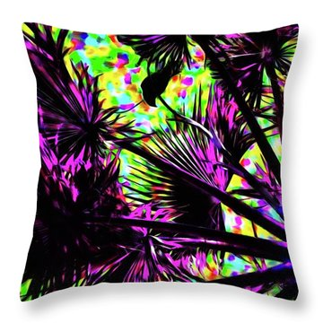 Crow In The Palm Tree 13 Version 5 Throw Pillow