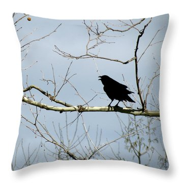 Crow In Sycamore Throw Pillow