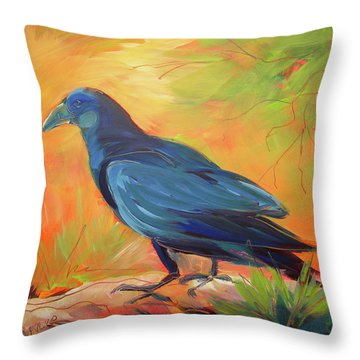 Crow In The Grass 7 Throw Pillow