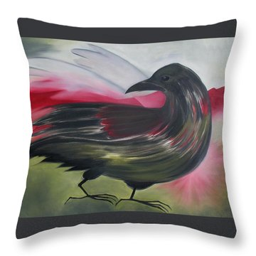 Crow Throw Pillow by Karen MacKenzie