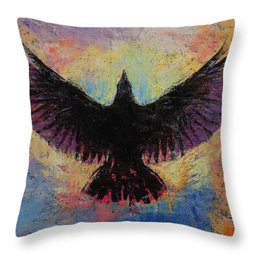 Crow Throw Pillow by Michael Creese