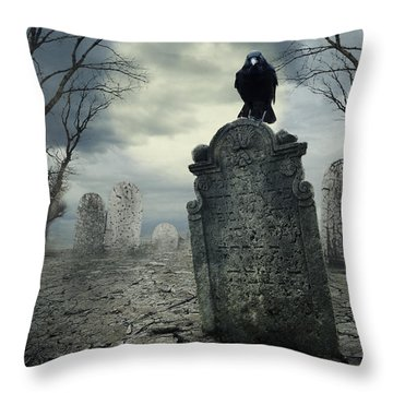 Crow On The Tombstone Throw Pillow