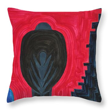 Crow Original Painting Throw Pillow by Sol Luckman