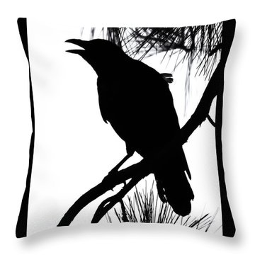 Crow Silhouette Throw Pillow by Patricia Schaefer