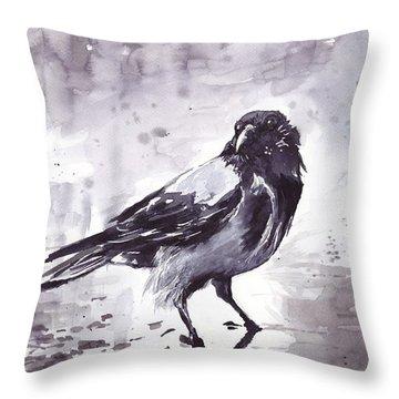 Crow Watercolor Throw Pillow