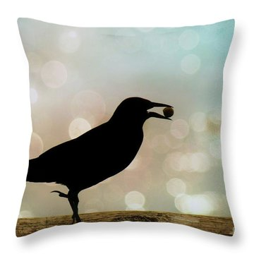 Throw Pillow featuring the photograph Crow With Pistachio by Benanne Stiens
