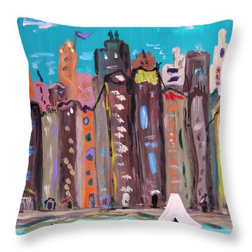 Throw Pillow featuring the painting Crowded By The Sea by Mary Carol Williams