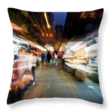Crowds Moving Through Jordan Throw Pillow by Ray Laskowitz - Printscapes