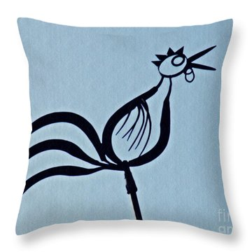 Crowing Rooster Throw Pillow by Sarah Loft
