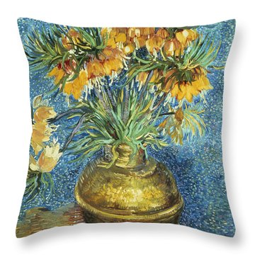 Crown Imperial Fritillaries In A Copper Vase Throw Pillow