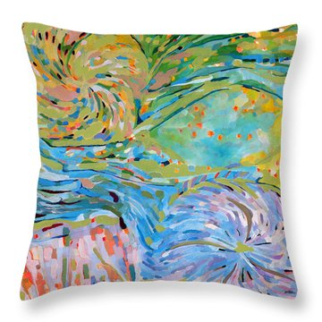 Throw Pillow featuring the painting Himalaya Code - Crown by Linda Cull
