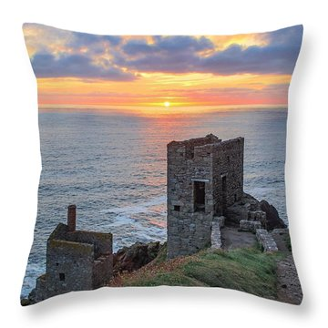 Crown Mines At Botallack  Throw Pillow