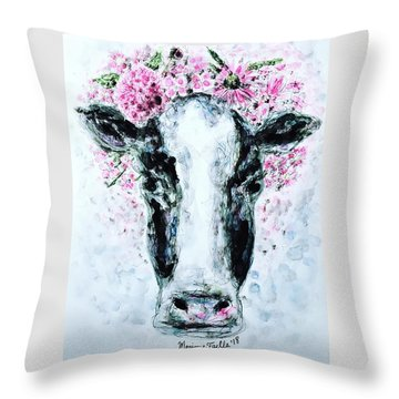Crown Of Flowers Cow Throw Pillow