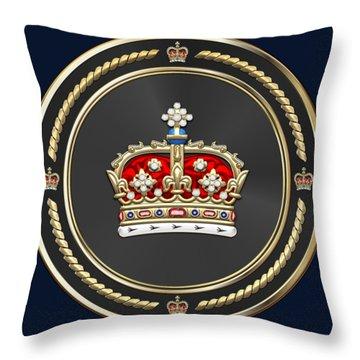 Crown Of Scotland Over Blue Velvet Throw Pillow