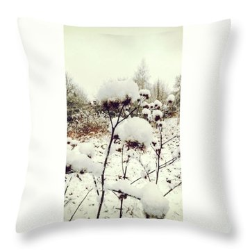 Crowns Of Snow#winter #snow #floral Throw Pillow