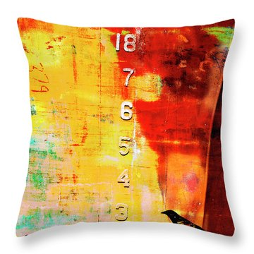 Crows By The Numbers Mixed Media Throw Pillow