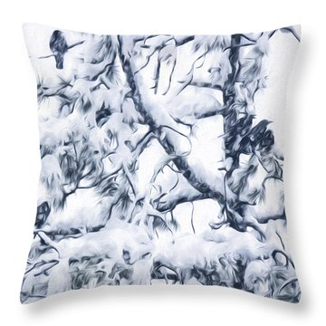 Crows In Snow Throw Pillow