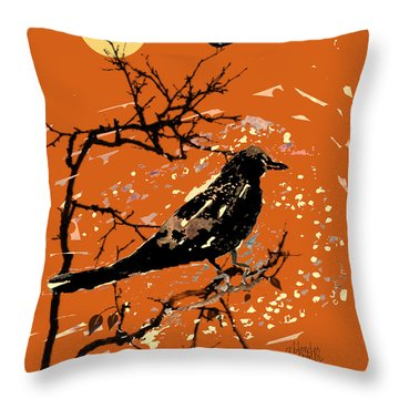 Crows On All Hallows Eve Throw Pillow by Arline Wagner