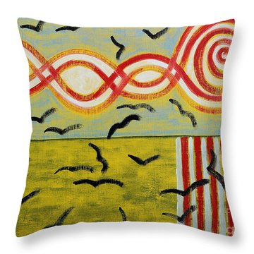 Crows Throw Pillow by Patrick J Murphy