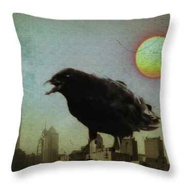 Crowzilla Throw Pillow by Bill Cannon
