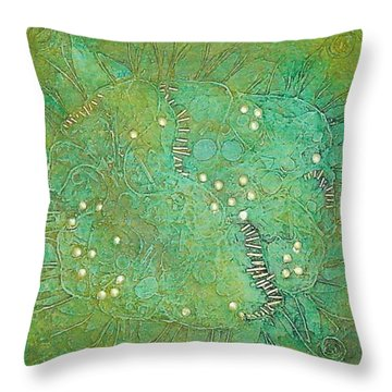 Throw Pillow featuring the mixed media Cruciferous Flower by Bernard Goodman