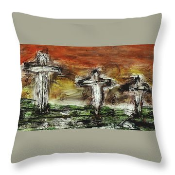 Throw Pillow featuring the painting Crucifixion #2 by Michael Lucarelli