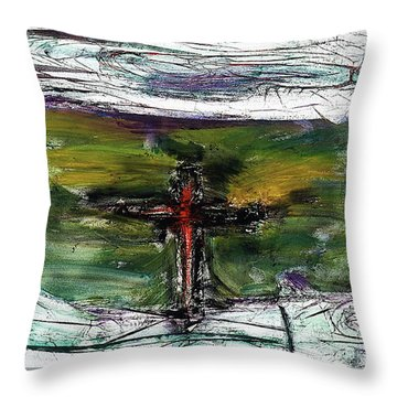 Throw Pillow featuring the painting Crucifixion #3 by Michael Lucarelli