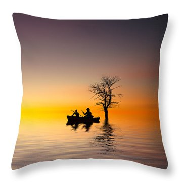 Throw Pillow featuring the pyrography Cruise by Bess Hamiti