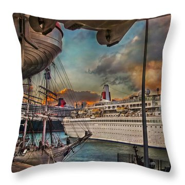 Throw Pillow featuring the photograph Cruise Port by Hanny Heim